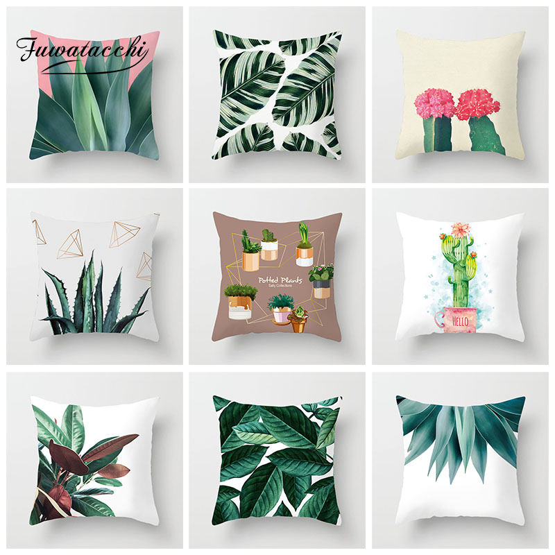 Fuwatacchi Tropical Plant Cushion Cover Cactus Flowers Printed Decoration Polyester Throw Pillow Home Sofa Pillowcases