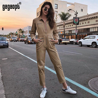 Gagaopt 2018 High Fashion Autumn Rompers Womens Jumpsuit Sexy Vintage Casual Khaki Long Sleeve Jumpsuit Rompers Overalls
