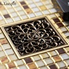 Xueqin Free Shipping 4 Square Antique Brass Floor Drain Bathroom Shower Insert Stopper Grates Waste Kitchen