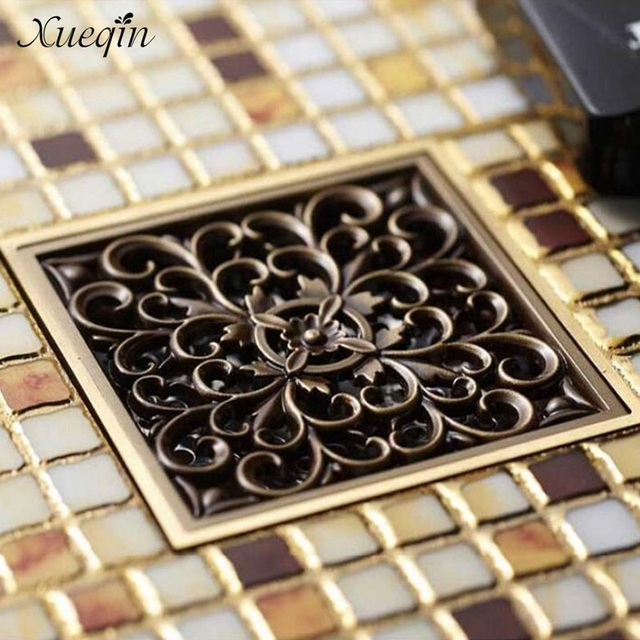 Aliexpress.com : Buy Xueqin 4\'\' Square Antique Brass Floor Drain ...