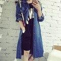 Весна Осень Женщины Джинсы Пальто С Длинным Рукавом Повседневный Ripped Длинные Мода Джинсовая Куртка Верхняя Одежда Ветровка H9