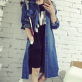 Spring Autumn Women Jeans Coat Long Sleeve Casual Ripped Long Fashion Denim Jacket Outerwear Windbreaker H9