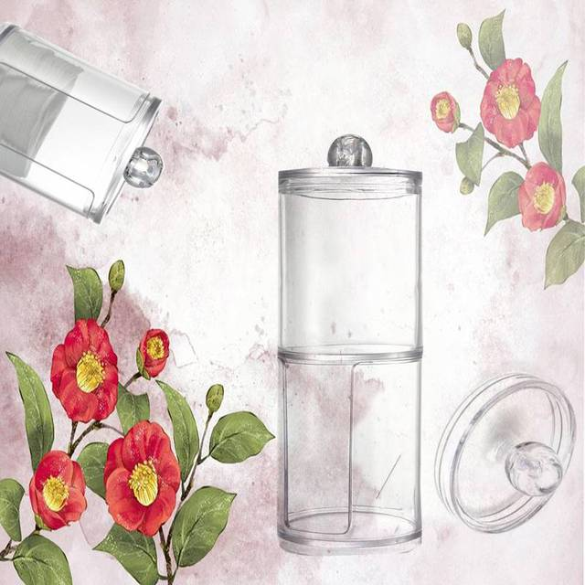 New Design Multifunctional Clear Acrylic Cotton Swab Q Tip Storage Holder  Box Cosmetic Makeup Case