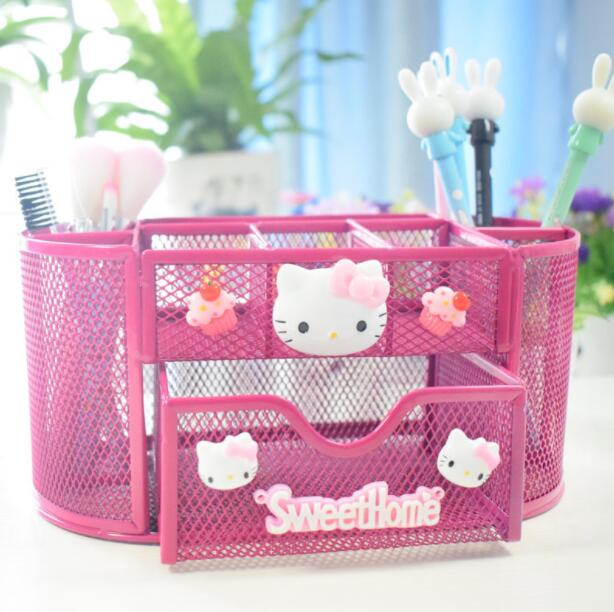 Creative Personality Pen Holder Multi-function Desktop Makeup Organizer Office Comb Brush Storage Box cute cat pen holders multifunctional storage wooden cosmetic storage box memo box penholder gift office organizer school supplie