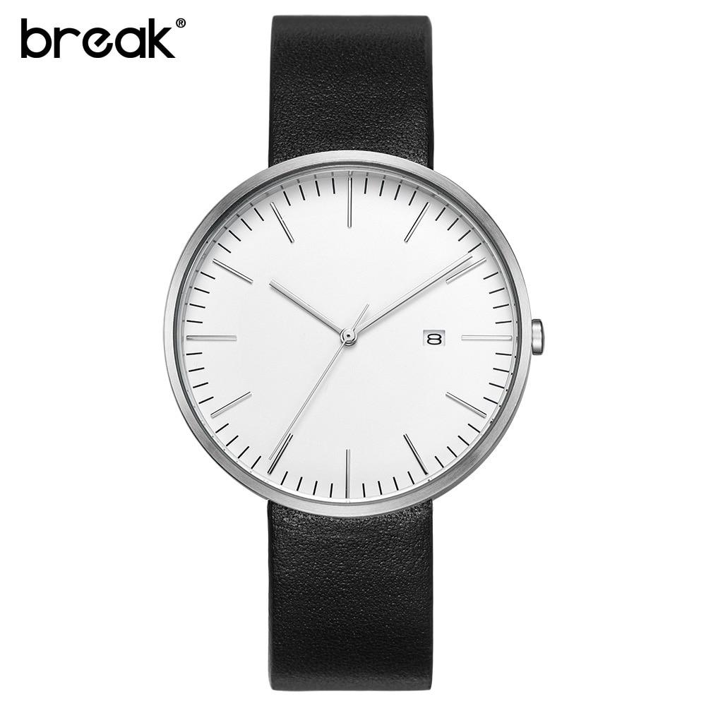 ФОТО 2016 BREAK top luxury brand leather strap fashion causal dress business quartz wristwatches creative gift watch for men women
