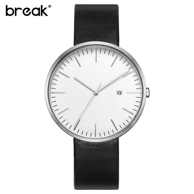 2016 break top de luxo da marca couro strap moda causal vestido de negócios relógios de pulso de quartzo presente criativo relógio para mulheres dos homens