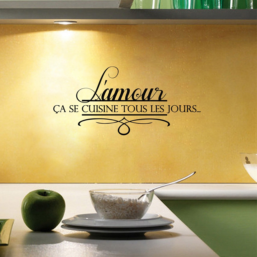Love Home French Kitchen Wall Stickers , Kitchen Decorative Quotes ...