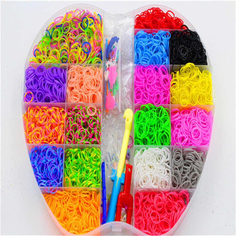 6000pcs Lacing Rubber Loom DIY Weaving Box elastic bands for weaving bracelets Braid set Handicraft Bracelet Kit Kids Toy