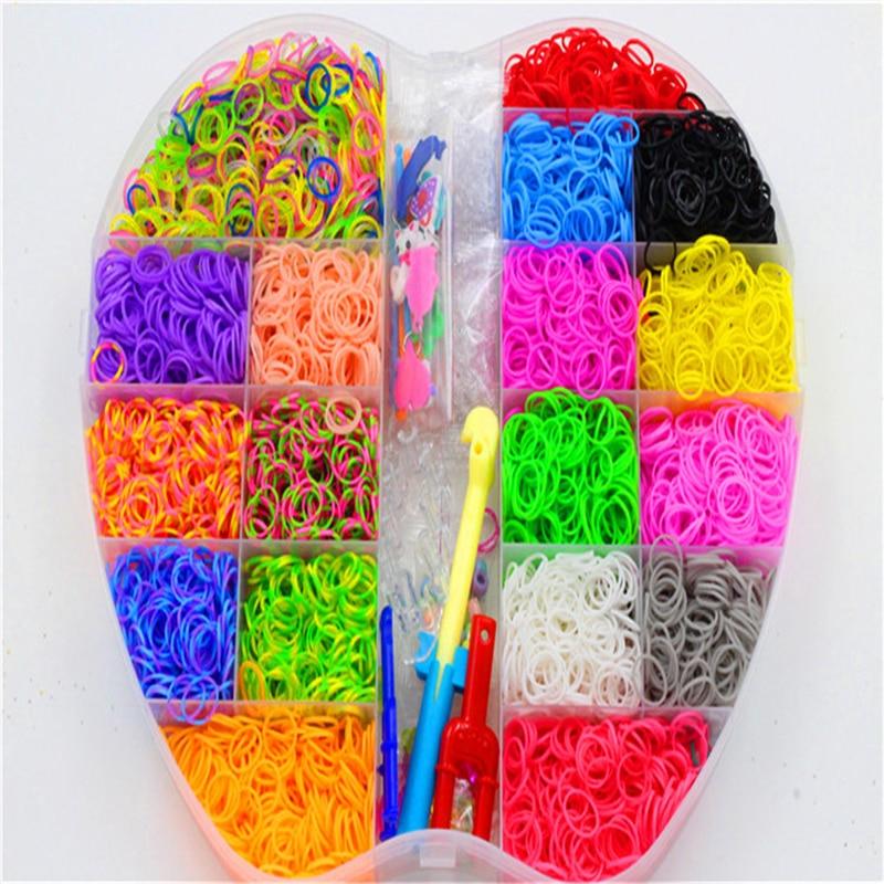 6000pcs Lacing Rubber Loom DIY Weaving Box elastic bands for weaving bracelets Braid set Handicraft Bracelet Kit Kids Toy