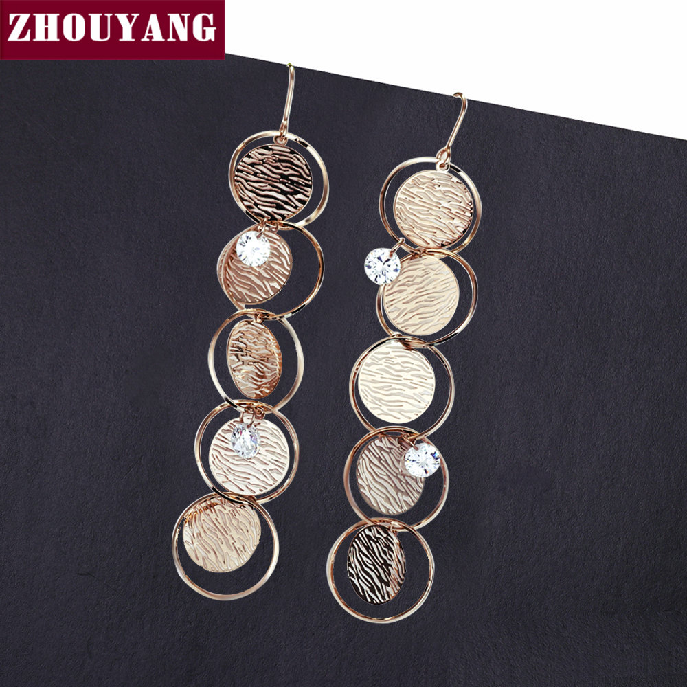 ZHOUYANG Long Earrings For Women CZ Crystal Round Moire Champagne Gold Color Party Fashion Jewelry Drop Earrings Gift E737 azora new arrival gold color round champagne crystals dangle earrings for women party fashion drop earrings jewelry te0294