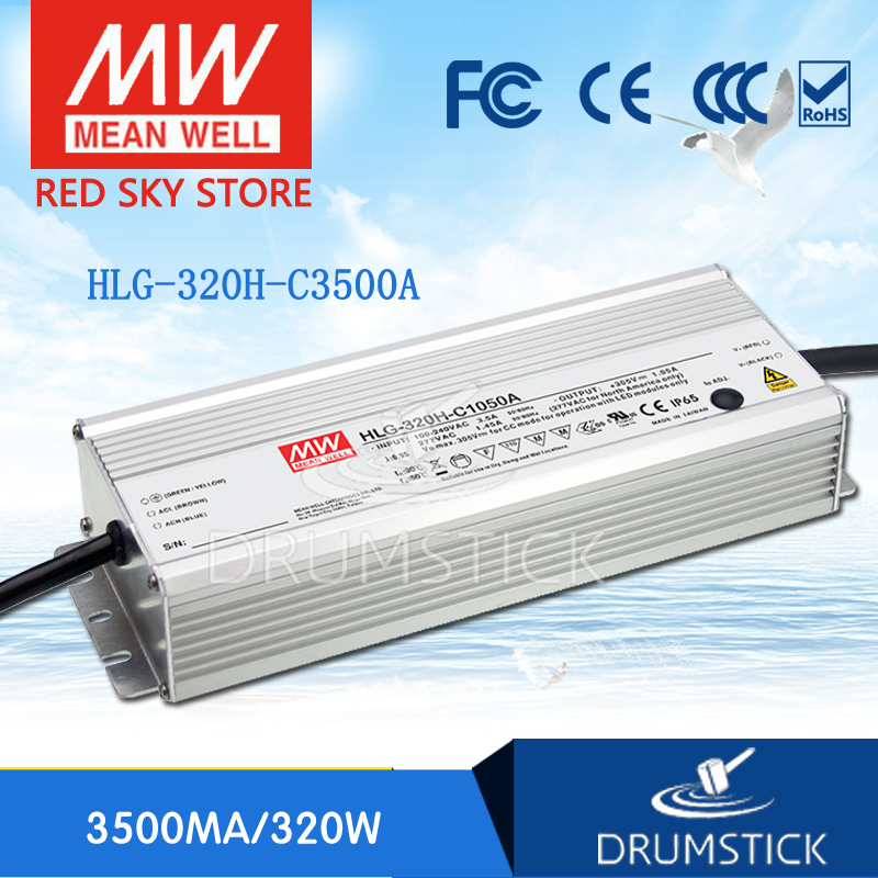 цена на Hot sale MEAN WELL original HLG-320H-C3500A 46 ~ 91V 3500mA meanwell HLG-320H-C 318.5W LED Driver Power Supply A Type