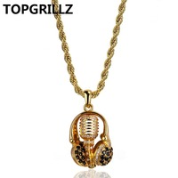 TOPGRILLZ Hip Hop New Style For Male Headset Microphone Necklaces Pendants Micro Pave Cubic Zircon Gold