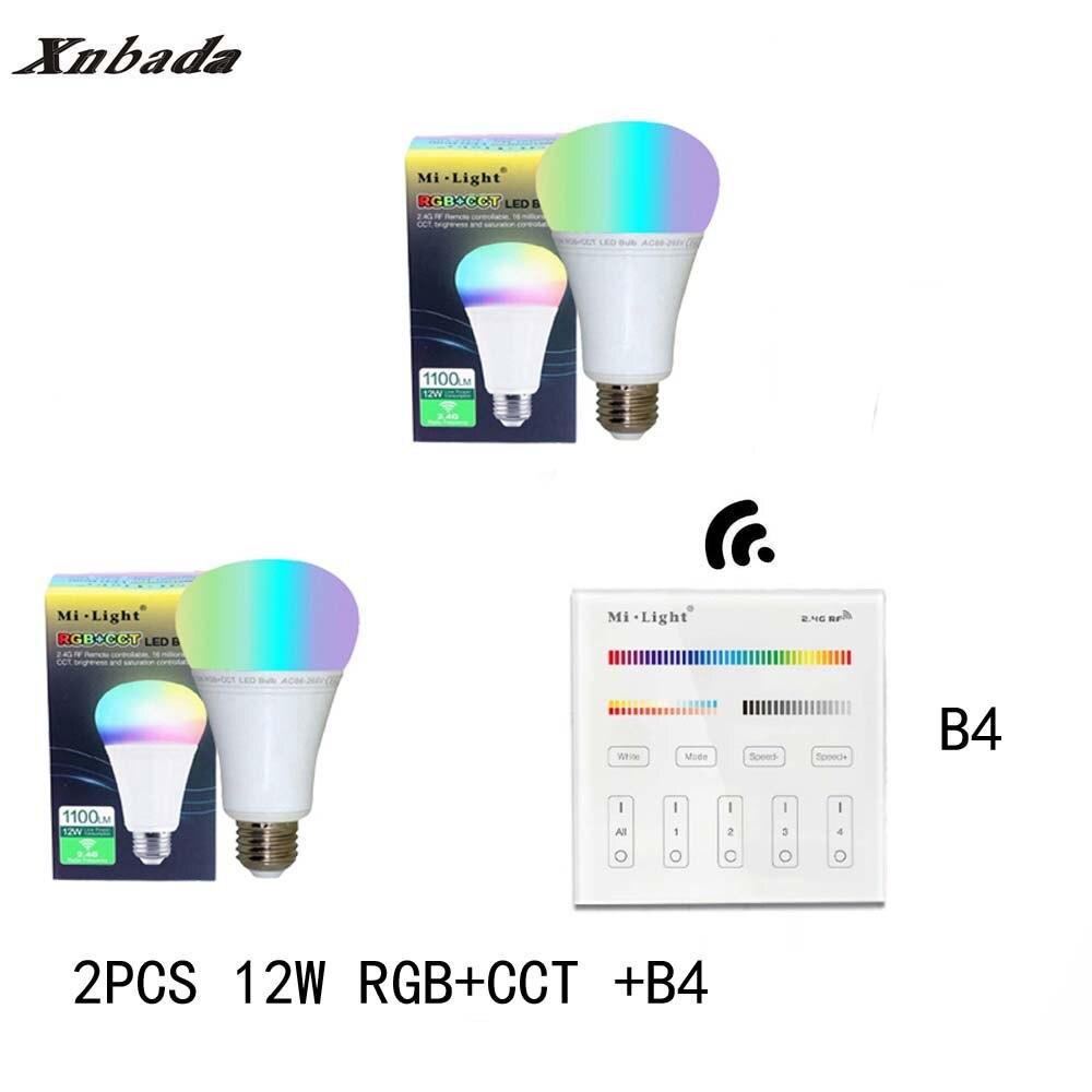 Mi lumière 12 W E27 RGB + CCT Led ampoule Dimmable AC85-265V lampe à Led B4 (3 V) panneau à distance MiLight Led projecteur lumière livraison gratuite - 3