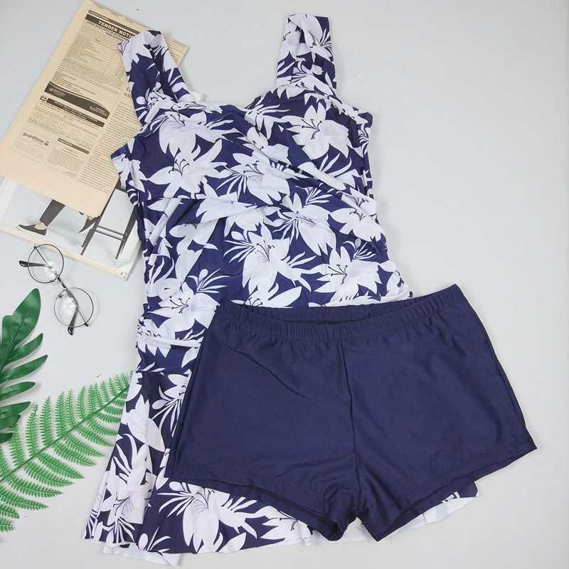 e41fdbc506 ... 2019 Retro Print Tankini Swimwear Skirt Women Ruched Tummy Control  Swimsuit Shorts Plus size Monokini Female ...