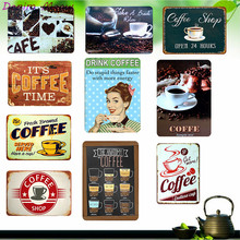 DRINK COFFEE Metal Tin Sign Vintage Home Decor Shabby Chic Coffee House Painting Wall Art Posters Pub Bar Cafe Shop Plaque WY27