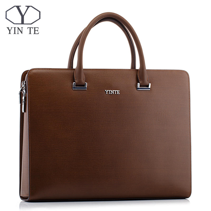 YINTE Fashion Men's Briefcase Leather Men Handbag Business Messenger Brown Color 14inch Laptop Men Totes Portfolio T8652-5 yinte leather men s briefcase black bag fashion business messenger totes laptop bag ostrich prints men s portfolio t8518 6