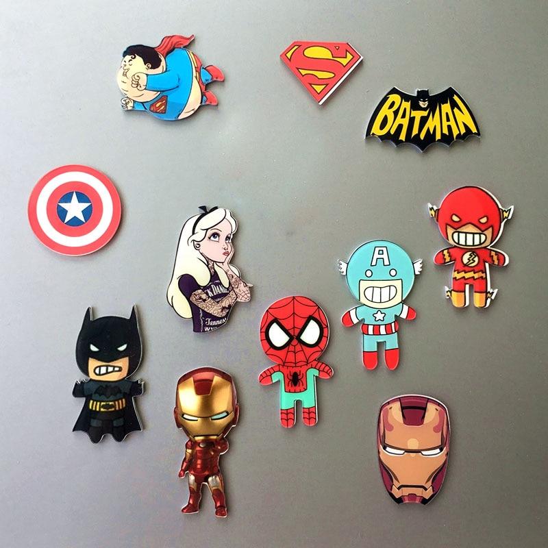 Marvel Heroes Captain America Batman Spiderman Magnetic Fridge Notepad Accessories Magnet Avengers Superman Stickers Fridge Toys Car phone