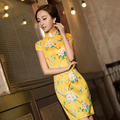2016 New Summer Chinese Traditional Dress Silk Satin Cheongsams Short Sleeve Female High Neck Qipao Chinese Evening Dresses