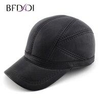 BFDADI עור באיכות גבוהה פו עור אמיתי חורף כובע כובע בייסבול כובע כובעי מתכוונן לגברים שחור משלוח חינם