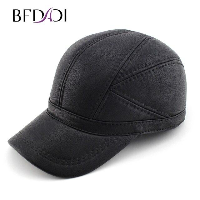 4f93aaa580f BFDADI Haute qualité Faux En Cuir véritable chapeau d hiver en cuir chapeau  casquette de