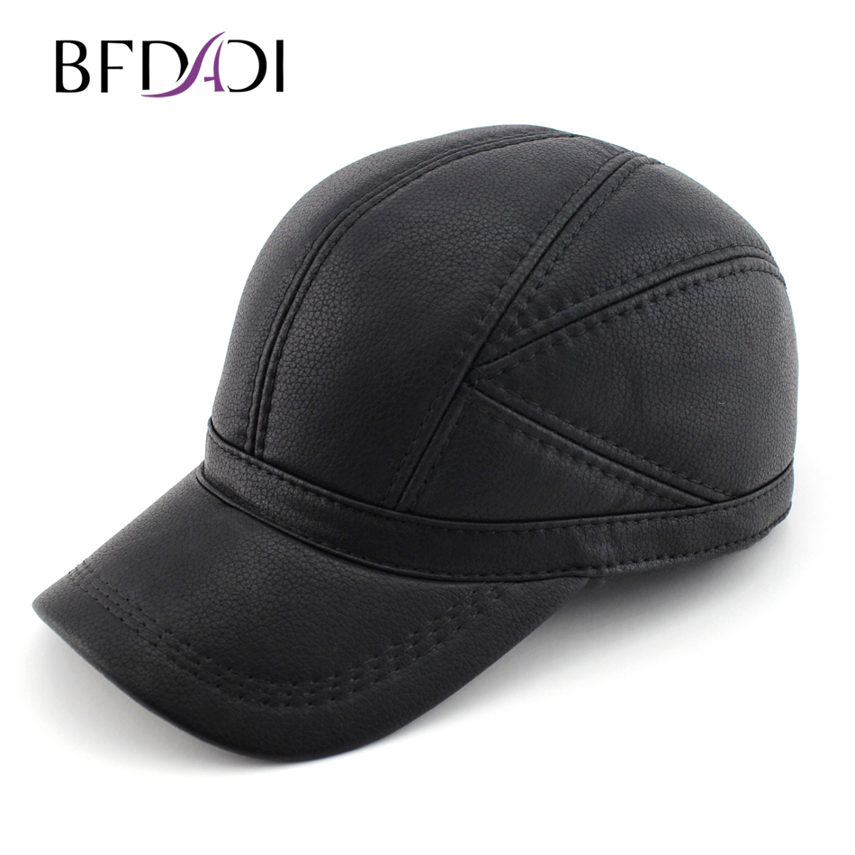 BFDADI High quality Faux Leather hat genuine winter leather hat baseball cap adjustable for men black hats Free Shipping ht647 warm winter leather fur baseball cap ear protect snapback hat for women high quality winter hats for men solid russian hat