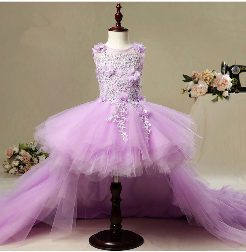 KICCOLY New Long Trailing   Flower     Girl     Dresses   Violet Tulle Floral First Communion   Dress     Girl   Formal Wedding Pageant Evening Gown