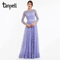 Tanpell Long Evening Dress Lavender Full Sleeves Lace A Line Floor Length Gown Women Backless Party