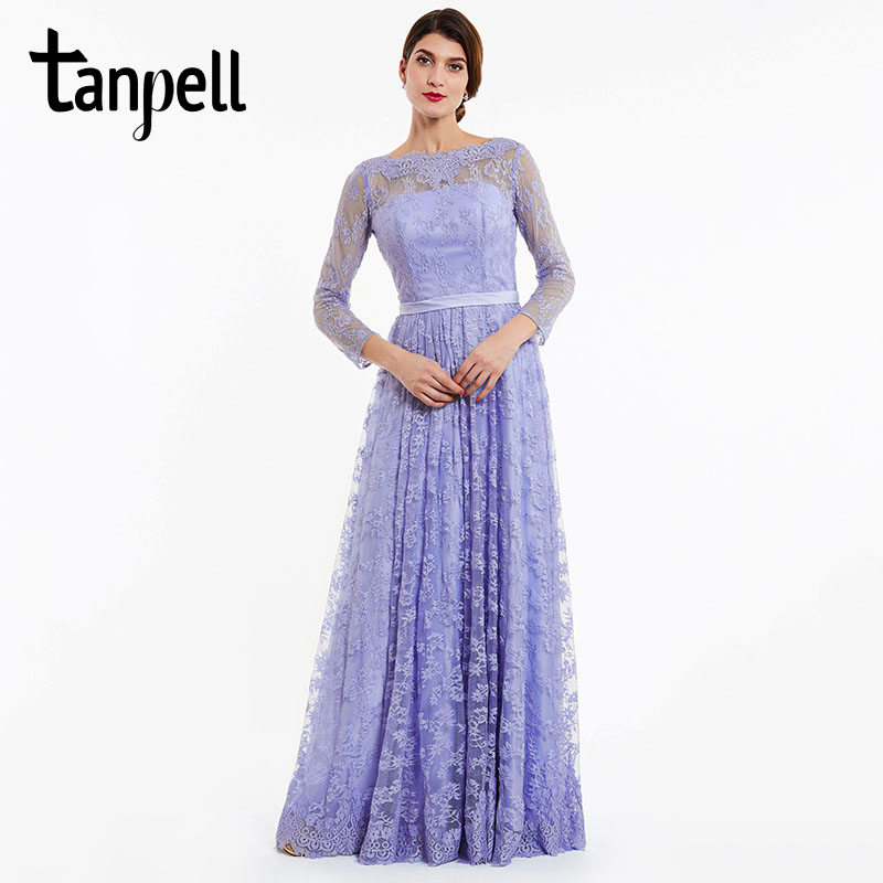 ca6a634e3832d US $36.22 60% OFF|Tanpell long evening dress lavender full sleeves lace a  line floor length gown women backless party prom formal evening dresses-in  ...