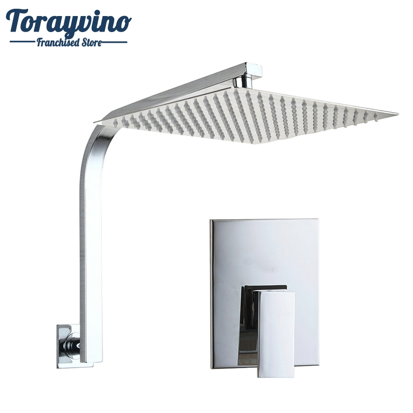 Torayvino Bath Brass Rainfall Shower Head RainFashion Ultra-thin Panel Wall Mounted Shower Faucet Shower Chrome Mixer Tap