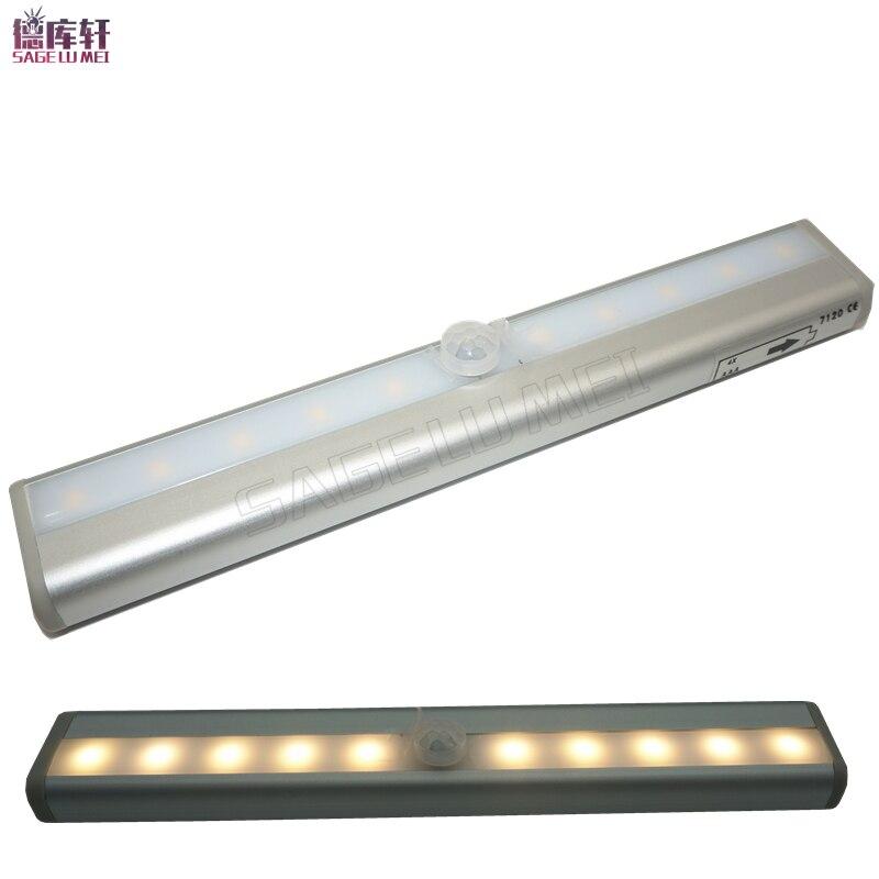 LED Cabinet Light IR Infrared Motion Detector Sensor Closet Night Light Lamp 10LED Human Body Induction Wardrobe Step Lights Bar