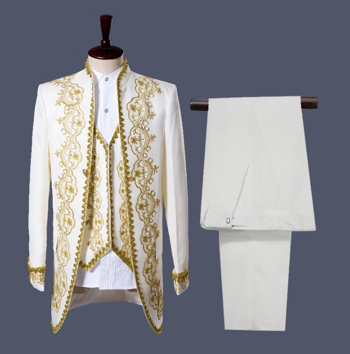 Male Palace Set Europe Style Swallowtail Suits Prince Dance Performance Jacket+Pants+Vest