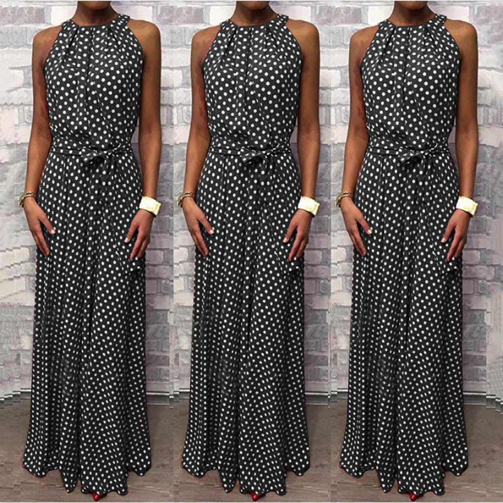 Robe de soirée femmes décontracté été licou cou Dot imprimé sans manches robe de plage robe d'été sans manches Boho Style longue robe à licou