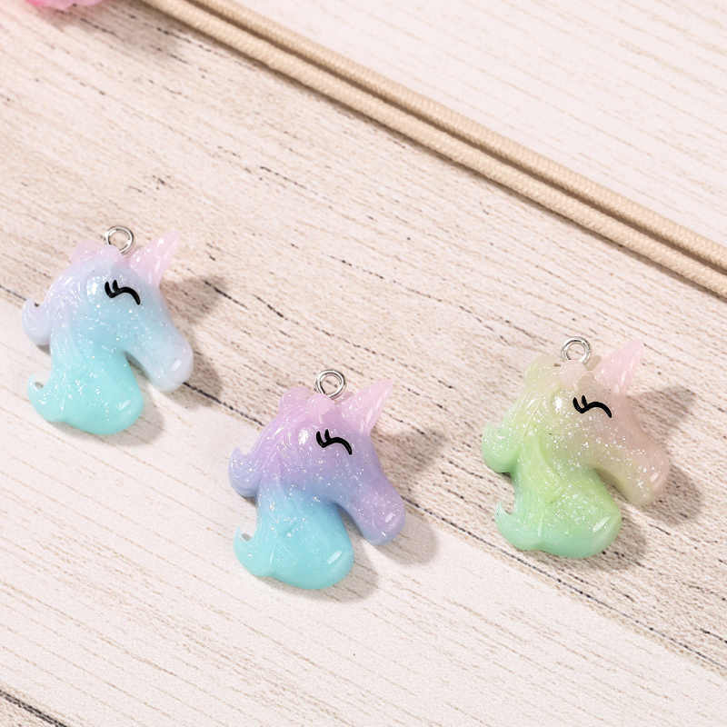 20pcs many styles unicorn charms glitter Unicorn head Jewelry necklace pendant keychain charms for DIY decoration