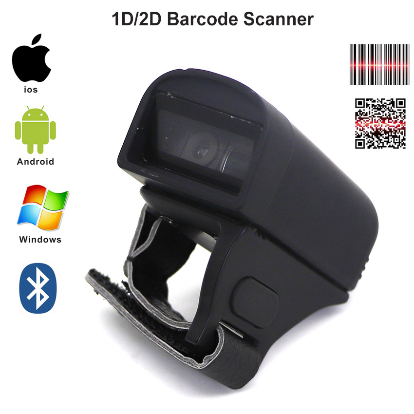 Finger Wearable Ring 1D 2D Small Barcode Scanner Bluetooth 1D Barcode Scan Gun For Commercial POS