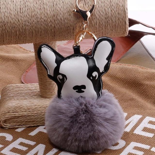 2019 Mulheres cão Fofo coelho Pompom pom pom Keychain llavero chaveiro Bola de Pêlo de Coelho Chaveiro Pompom sleutelhanger Porte clef