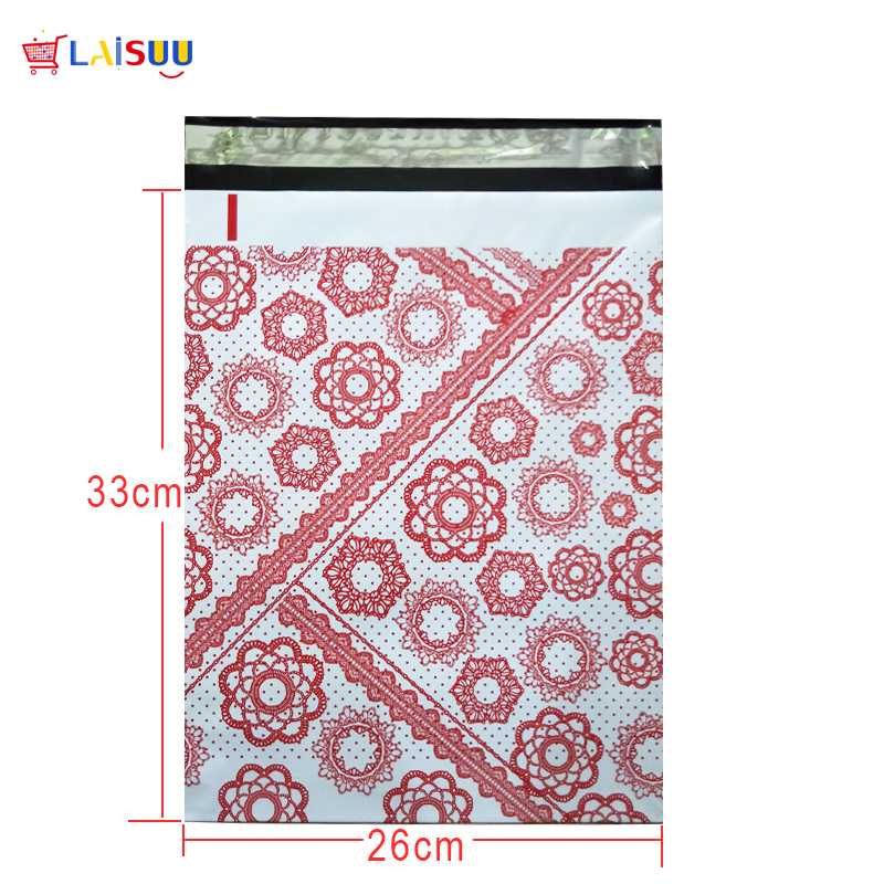 50 Pcs 26x33cm 10x13 Inch Red Flower Pattern Poly Mailers Self Seal Plastic Envelope Bags / Gift Mailing Bags