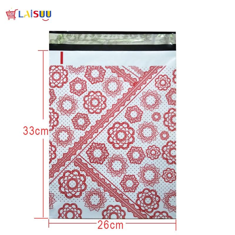 все цены на 50 pcs 26x33cm 10x13 inch Red flower Pattern Poly Mailers Self Seal Plastic Envelope Bags / Gift Mailing Bags онлайн