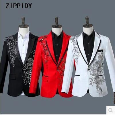 New Men Fashion Flower Rhinestones Slim Suits (Jacket+Pants) Dj Male Wedding Host Singer Bar Stage Performance Prom Blazer Suit