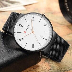 Image 3 - CURREN New Mens Quartz Relogio Masculinos Dial Clock Ultra thin Male Wrist Watch Calendar Waterproof Business Steel Watches