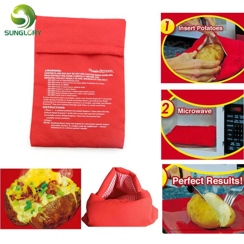 Red Potato Bag Microwave Baking Potato Cooking Bag Washable Cooker