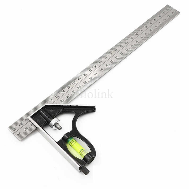 Adjule Square Ruler Multifunctional Combination Stainless Steel Horizontal Measuring Tool 30cm 45 Degree With Bubble