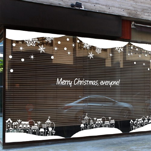 DCTAL Christmas New Year Vinyl Wall Decal Coffee Shop Clothes Shop Hair Salon Christmas Wall Sticke Xmas Shop Glass