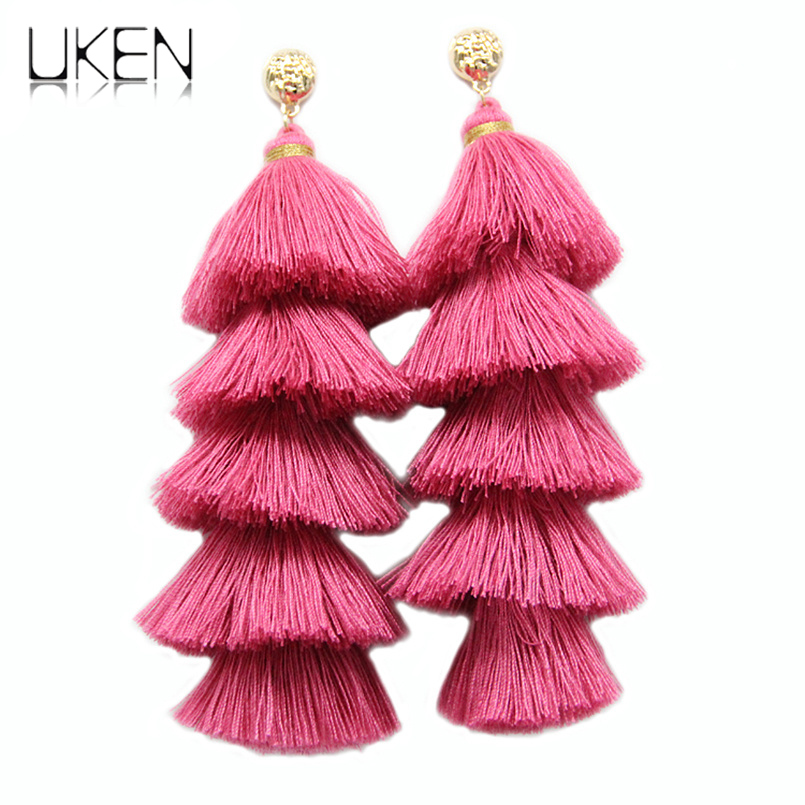 UKEN Long Tassel Earrings For Women Statement Jewelry 5 Layered Fringe Drop Earrings Big Fashion Handmade Dangle Earrings