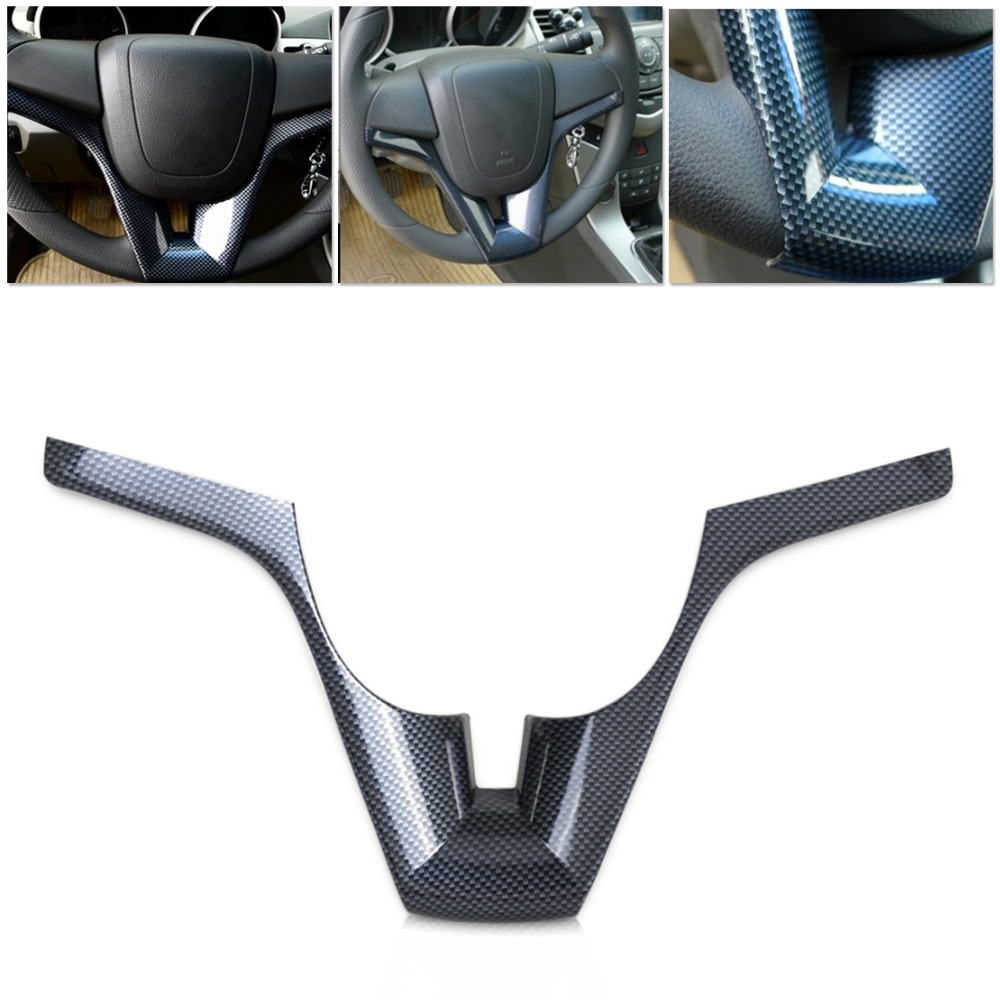 CITALL Tracking # New Real Carbon Fiber Steering Wheel trim cover for Chevrolet Cruze 2008 2009 2010 2011 2012 Car stylings