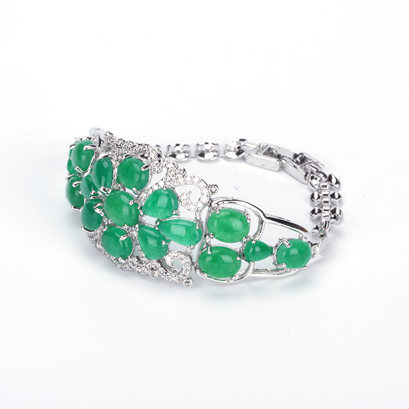 Fashion Women Charm Bracelets White Gold Color Filled Zircon Drop Stone Fashion Jewelry Green Pink Color For Lady Best Selling
