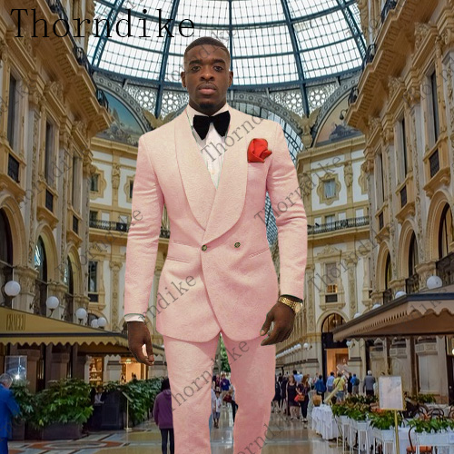 Latest Coat Pant Designs Pink Men Suit Prom Tuxedo Slim Fit 2 Piece Groom Wedding Suits For Men Custom Blazer Terno Masuclino