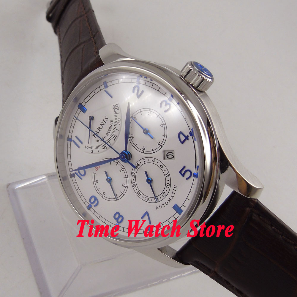 Luxury 42mm parnis watch white dial Multifunction Sapphire Glass 26 jewels miyota 9100 Automatic men's Watch 584 42mm parnis withe dial sapphire glass miyota 9100 automatic mens watch 666b