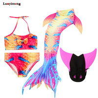 4pcs/set Girls Mermaid Tails Dress Swimwear Cosplay Princess Tail Costumes Bathsuits Suit Swimmable Kids Swimsuit With Monofin