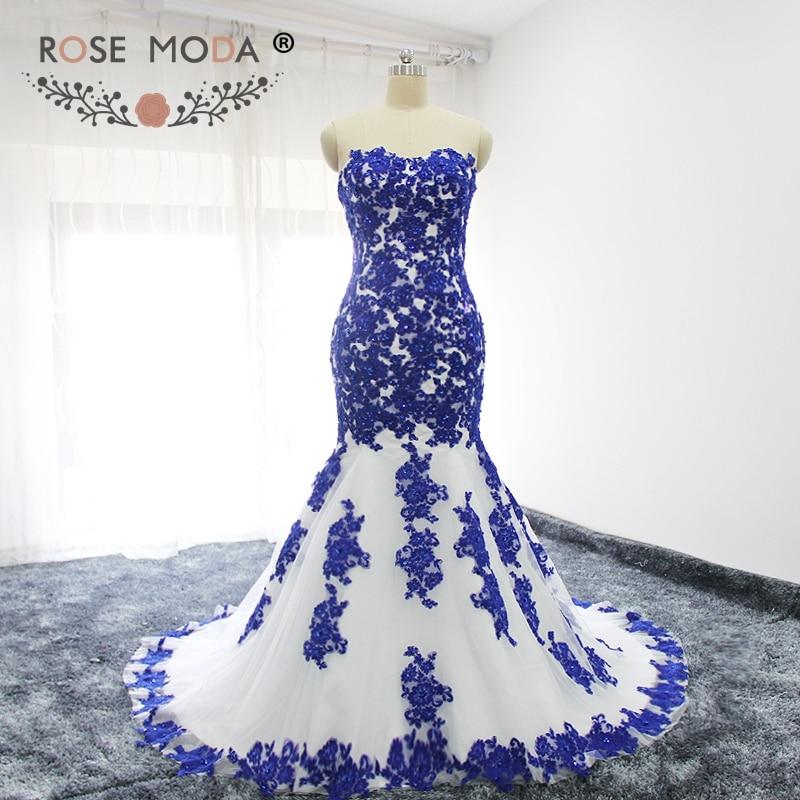 Роза Moda Милая Кружево аппликация белый и синий Русалка свадебное платье Кружево на спине Кружево свадебное платье