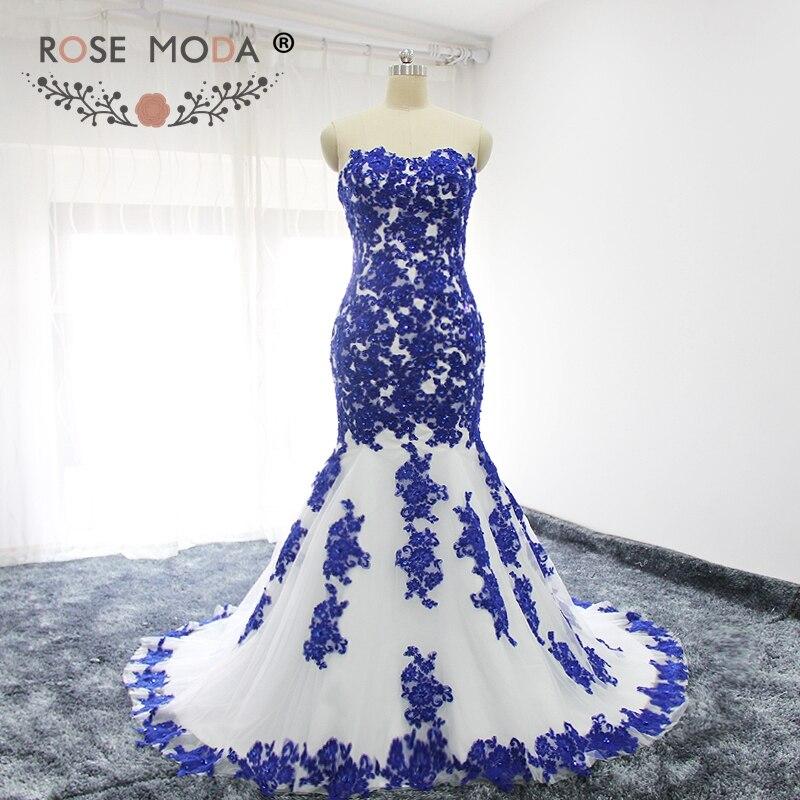 Rose Moda chérie dentelle appliqué blanc et bleu robe de mariée sirène à lacets dos dentelle robe de mariée
